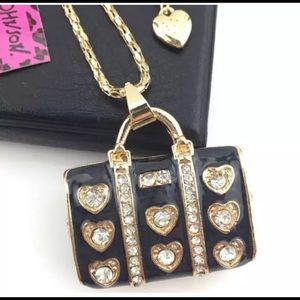 "Black & Gold Jeweled 2"" Purse Necklace"